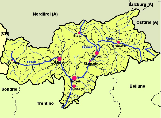 Karte von Südtirol