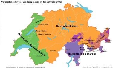 Karte Deutsch in der Schweiz