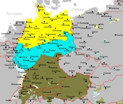 Karte Ober- Mittel- Niederdeutsch