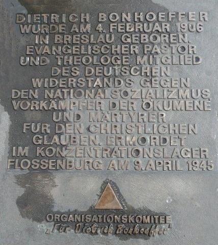 Gedenktafel Bonhoeffer (deutsch)