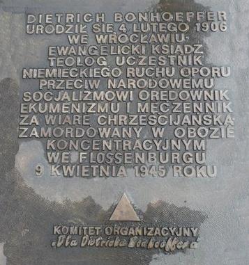 Gedenktafel Bonhoeffer (polnisch)