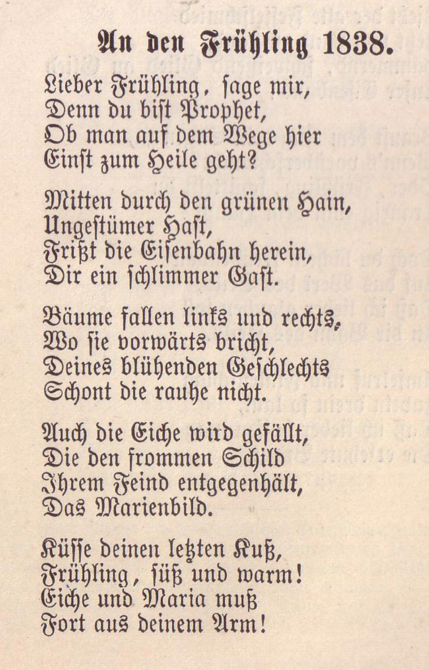 Ein Gedicht von Lenau, in Fraktur