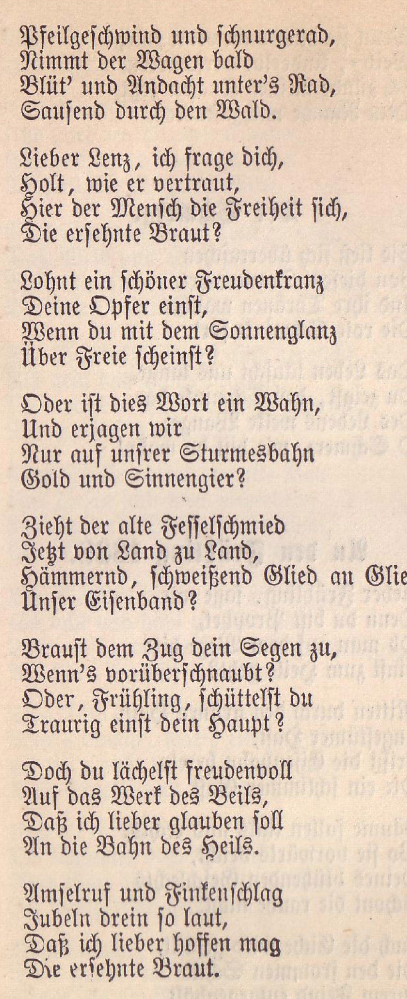 Gedicht von Lenau, in Fraktur