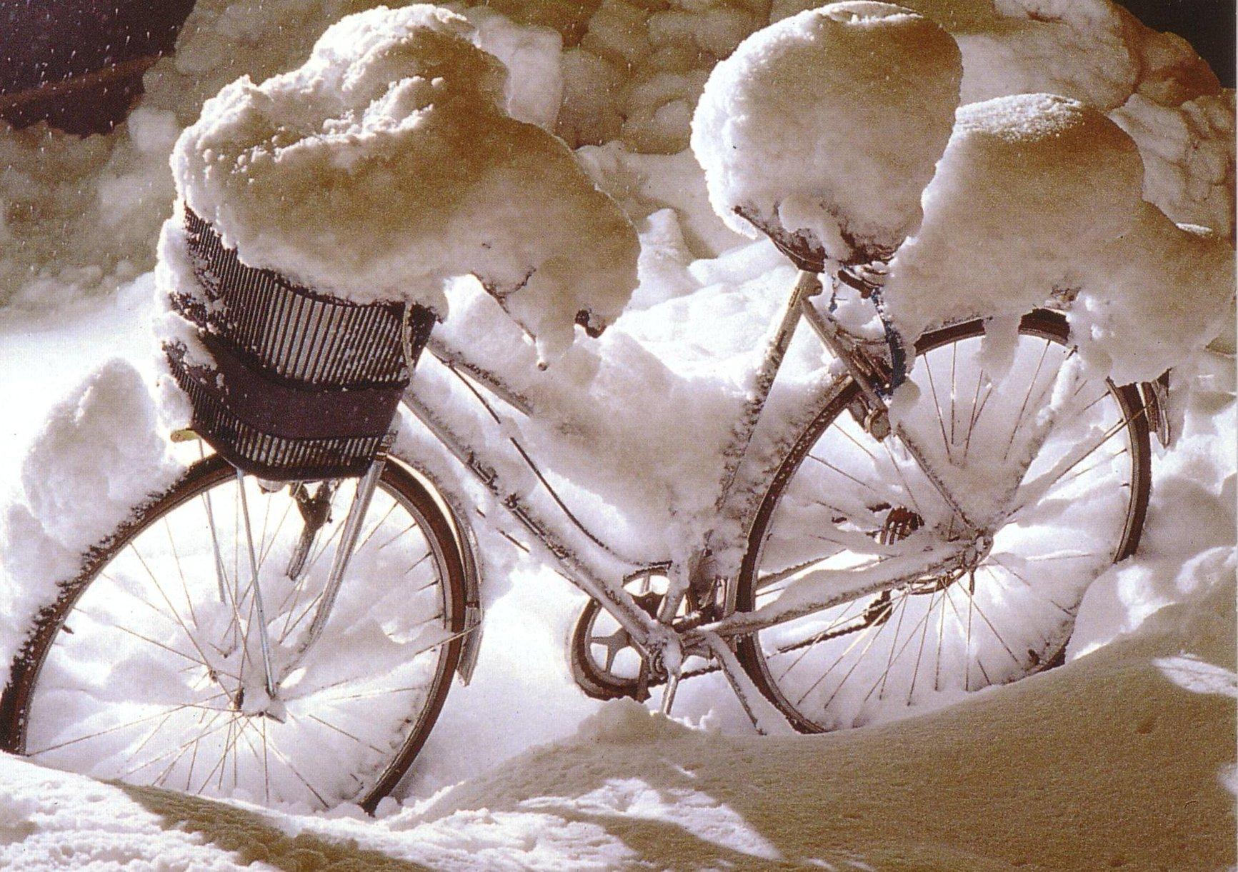 Verschneites Rad