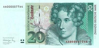 20 DM Banknote, Voderseite