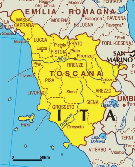 Karte der Toscana