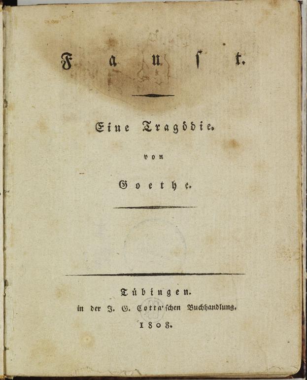 Goethe: Faust I. Erstausgabe