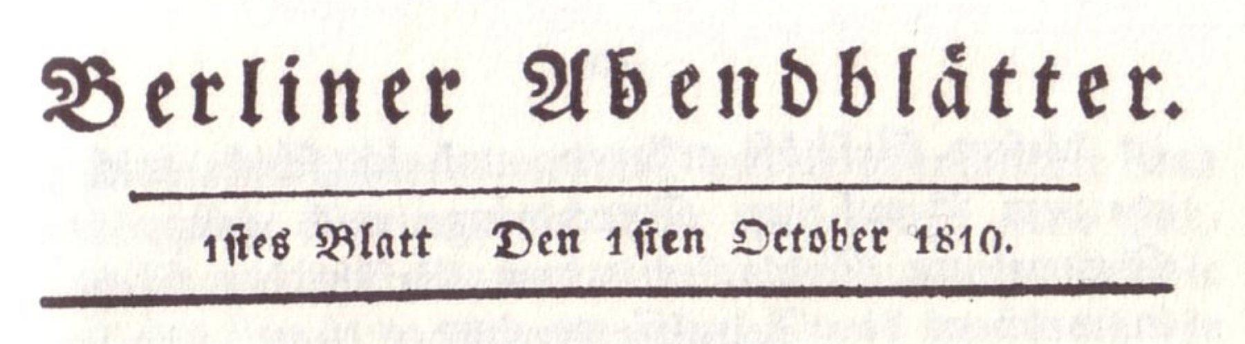 Kopfzeile Berliner Abendblätter