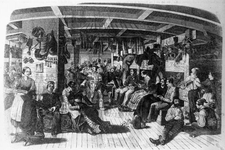 Schiff mit Auswanderern um 1850