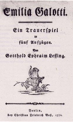 Emilia Galotti, Titelblatt der Erstausgabe von 1772