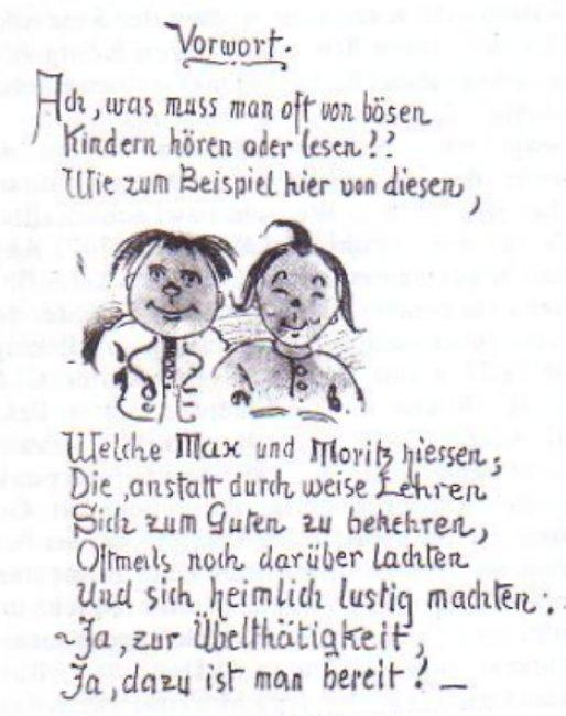 Buschs Manuskript des Vorwortes