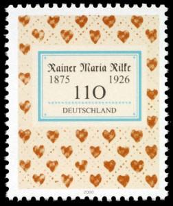 Briefmarkenausgabe der Deutschen Post (2000) zum 125. Geburtstag von Rilke