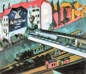 Großstadtdarstellung des expressionistischen Künstlers Ernst Ludwig Kirchner: Straßenbahn und Eisenbahn, 1914. © Wikipedia / gemeinfrei